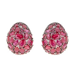 35.88 Carat Round and Oval Ruby and Diamond Yellow and Black Gold Earrings