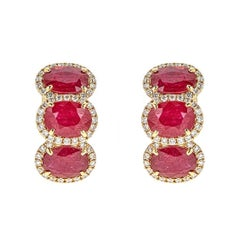 13.23 Carat Ruby and 2.48 Carat Diamond Yellow Gold Three-Stone Earrings