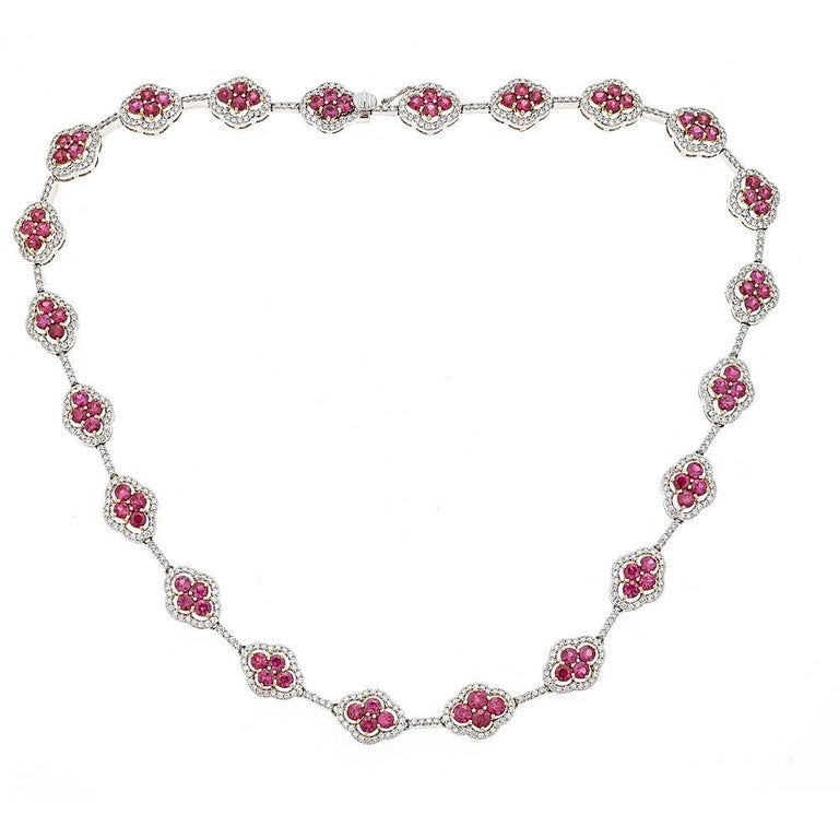 12.34 Carat Ruby with 4.33 Carat Diamond White and Yellow Gold Necklace