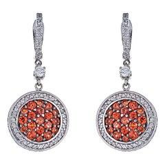 1.59 Carat Orange Sapphire and 1.01 Carat Diamond White Gold Earrings