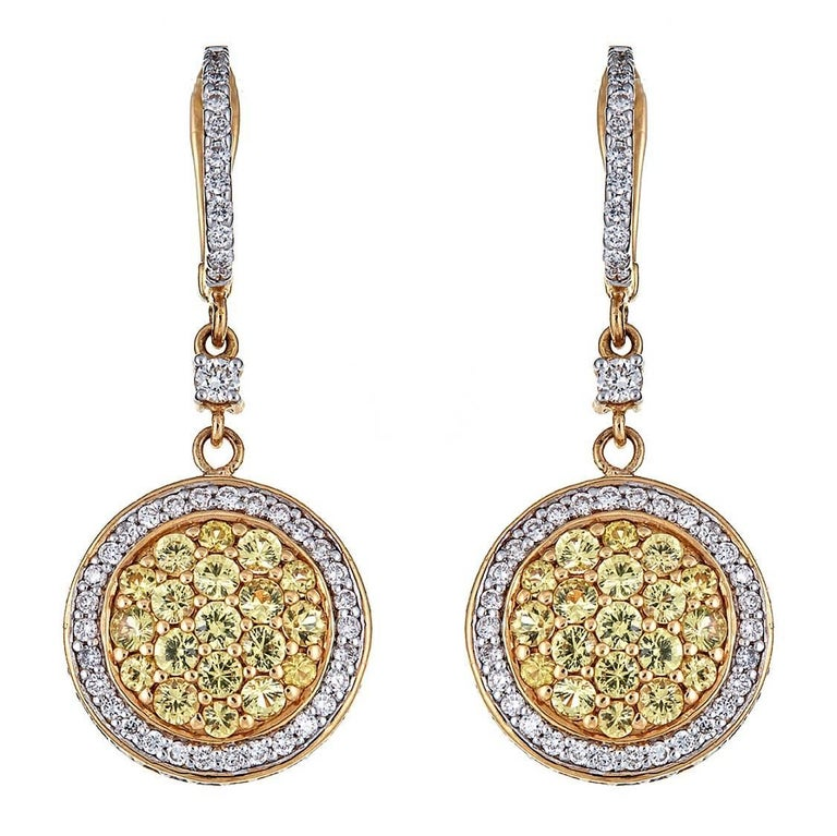 1.80 Carat Yellow Sapphires and 1.06 Carat Diamond Yellow Gold Earrings For Sale