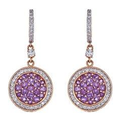 1.14 Carat Amethyst and 1.03 Carat Diamond Drop Earrings in 18 Karat Pink Gold