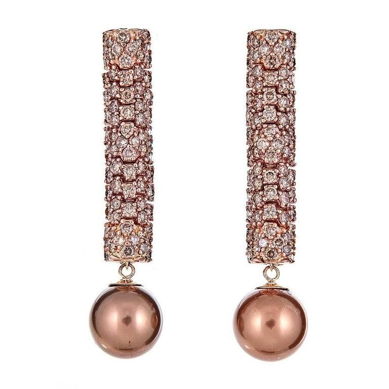 3.95 Carat Brown Diamond and Bronze South Sea Pearl Rose Gold Drop Earrings
