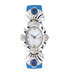 Piranesi White Gold 1.02 Carat Diamond 3.15 Carat Sapphire Wristwatch