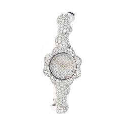 Piranesi White Gold 5.84 Carat Pave Diamond Wristwatch