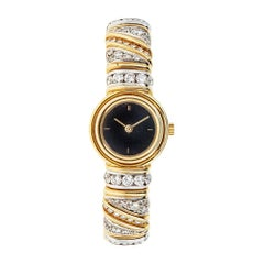Piranesi White and Yellow Gold 3.66 Carat Diamond Bracelet Wristwatch