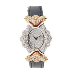 Piranesi White and Rose Gold 3.77 Carat Pave Diamond Wristwatch