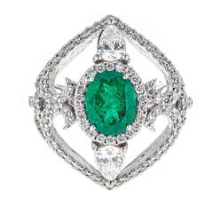 1.66 Carat Oval Emerald and 1.72 Carat Diamond White Gold Cocktail Ring