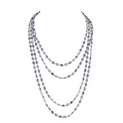 103.16 Carat Oval Blue and Pink Sapphire White Gold Chain Necklace