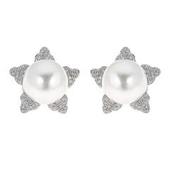 White South Sea Pearl with 0.63 Carat Diamond White Gold Studs