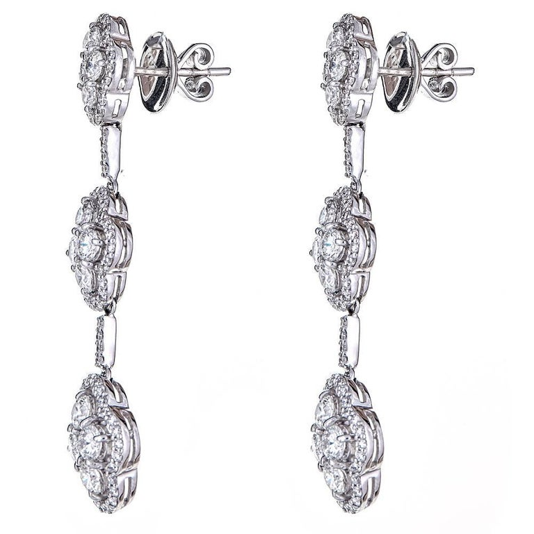 Round Cut 4.70 Carat Diamond Tiered White Gold Drop Earrings For Sale
