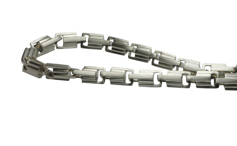 Art Deco Emer Roberts Sterling Silver Architectural Deco Links Chain Bracelet For Sale