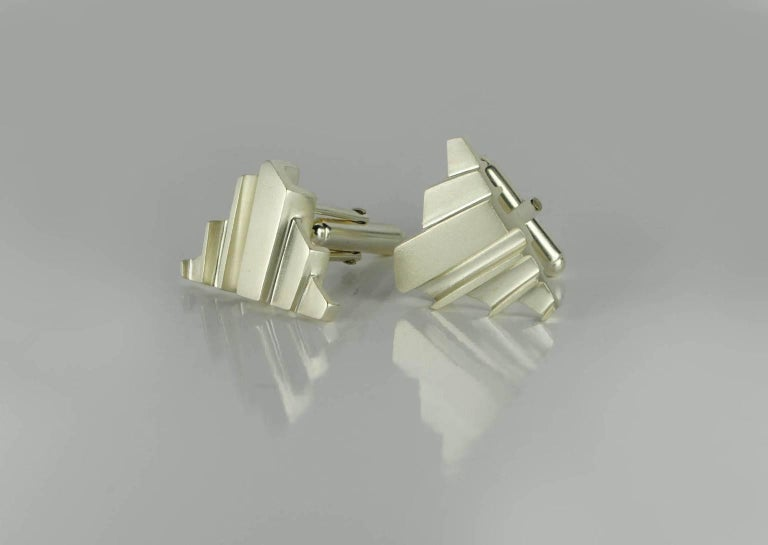 Emer Roberts Architectural Art Deco Silver Cufflinks In New Condition For Sale In Dublin, IE