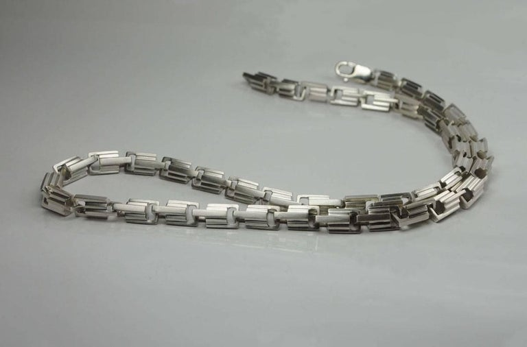 Women's or Men's Emer Roberts Sterling Silver Architectural Art Deco Style Links Chain Necklace For Sale