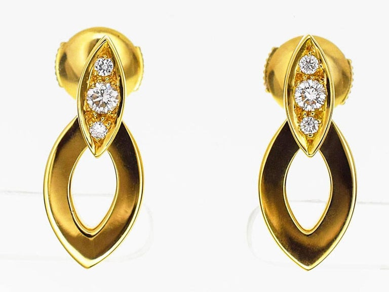 Cartier Diamond Diadea Earrings 18 Karat Yellow Gold In Excellent Condition For Sale In Tokyo, JP