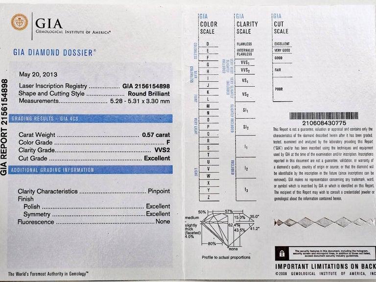 Harry Winston Solitaire 0.57 Carat Round Brilliant Diamond Platinum Ring For Sale 6