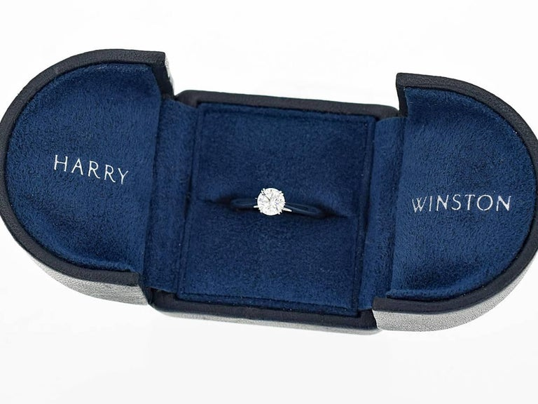 Harry Winston Solitaire 0.57 Carat Round Brilliant Diamond Platinum Ring For Sale 4