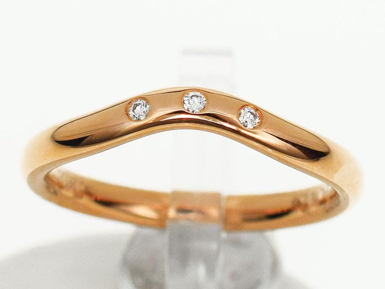 Tiffany And Co Diamond 18 Karat Pink Gold Carved Band Ring For Sale