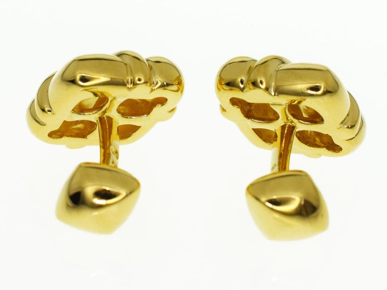 Concord Diamond 18 Karat Yellow Gold Cufflinks In Excellent Condition For Sale In Tokyo, JP