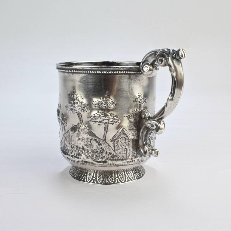 Early Victorian Architectural New Orleans Coin Silver Mug by Adolphe Himmel for Hyde & Goodrich For Sale
