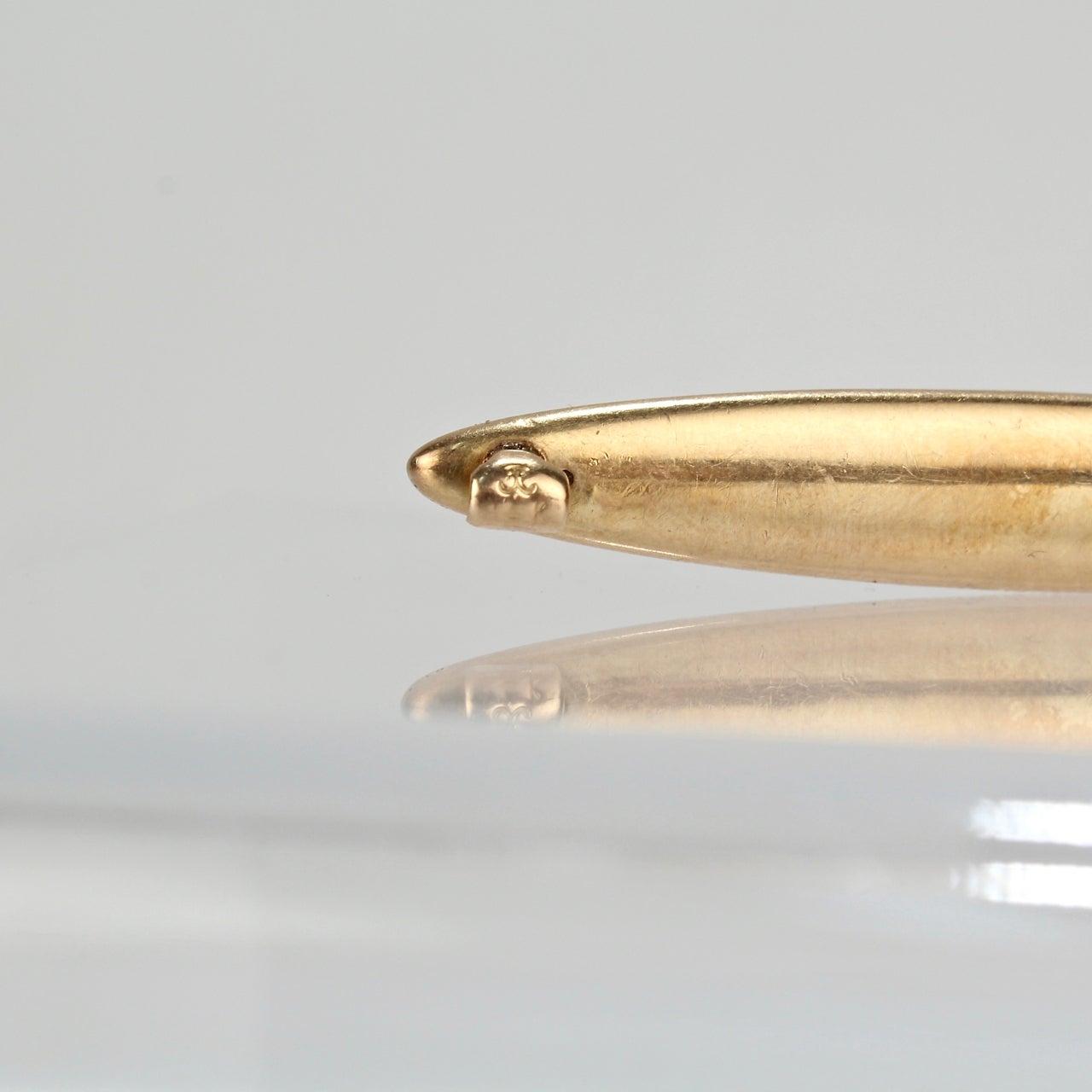 Art Nouveau Period 14 Karat Yellow Gold Lapel Pin with Three Faces by  Krementz