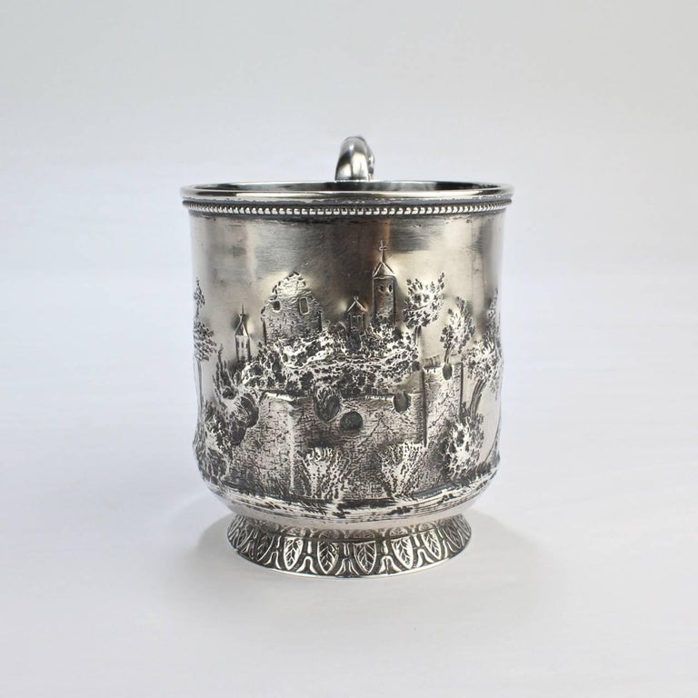 Women's or Men's Architectural New Orleans Coin Silver Mug by Adolphe Himmel for Hyde & Goodrich For Sale