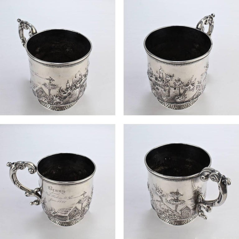 Architectural New Orleans Coin Silver Mug by Adolphe Himmel for Hyde & Goodrich For Sale 4
