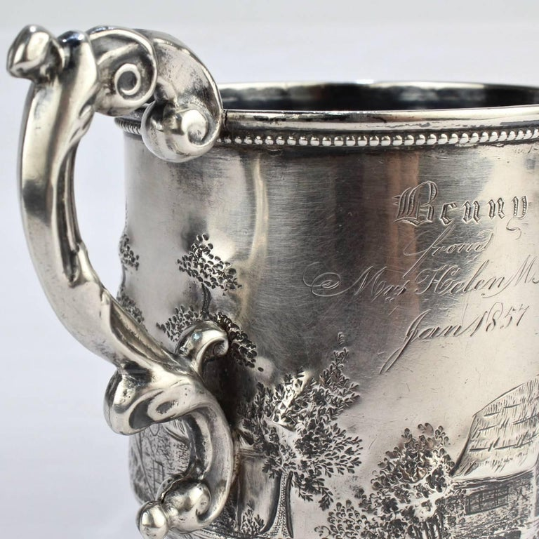 Architectural New Orleans Coin Silver Mug by Adolphe Himmel for Hyde & Goodrich For Sale 3