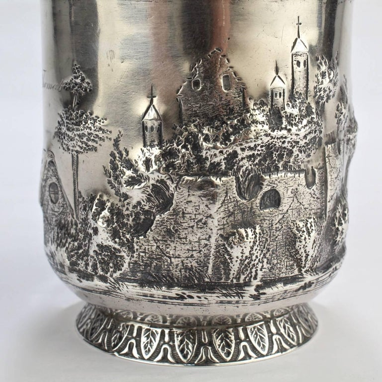 Architectural New Orleans Coin Silver Mug by Adolphe Himmel for Hyde & Goodrich For Sale 1