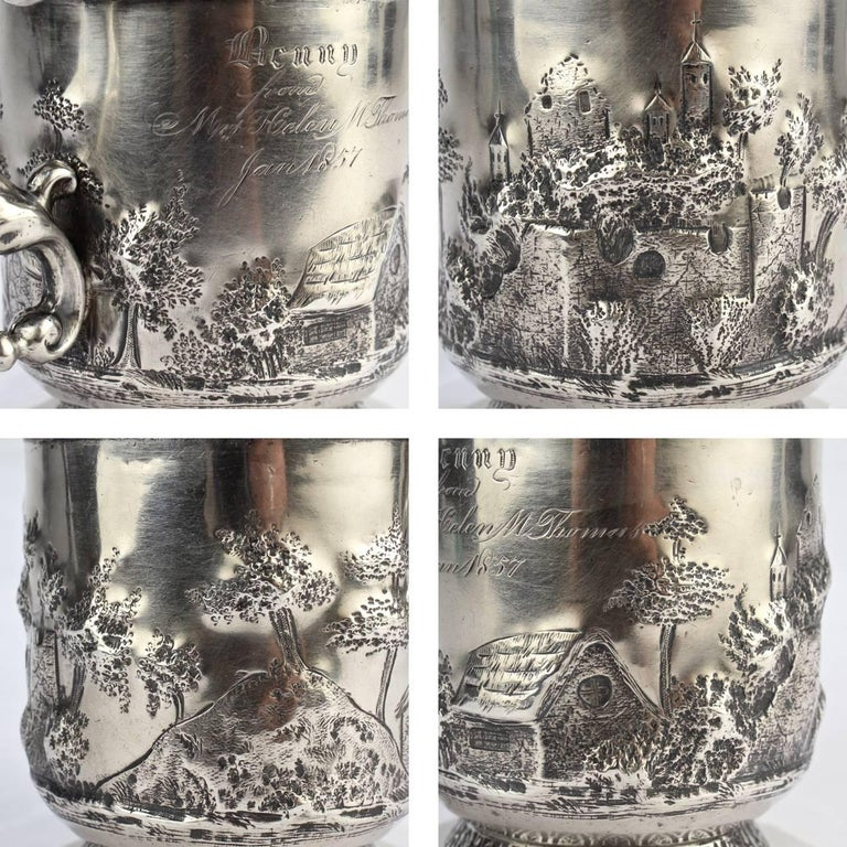 Architectural New Orleans Coin Silver Mug by Adolphe Himmel for Hyde & Goodrich For Sale 2