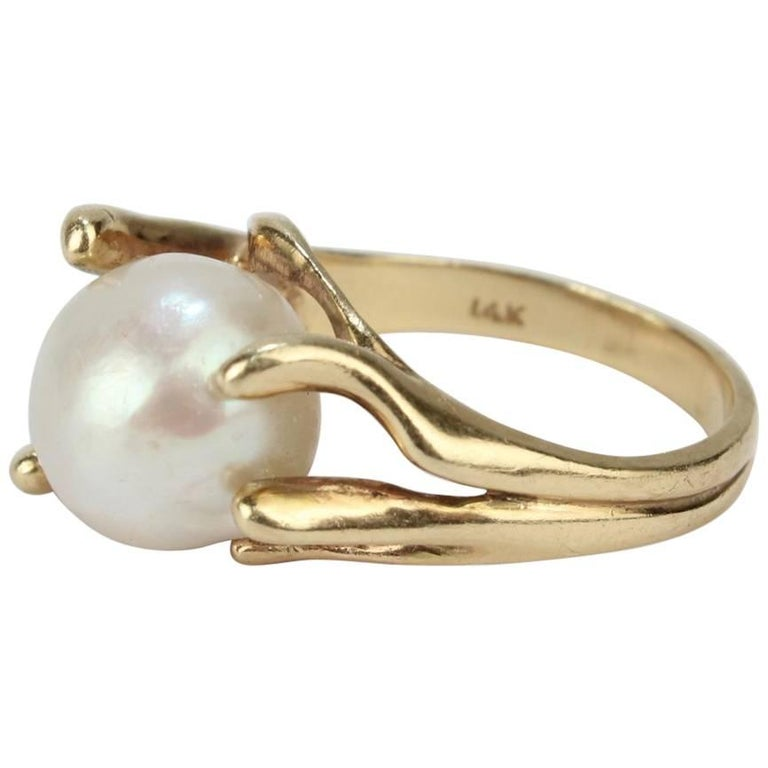 Modernist Gold and Baroque Pearl Cocktail Ring For Sale