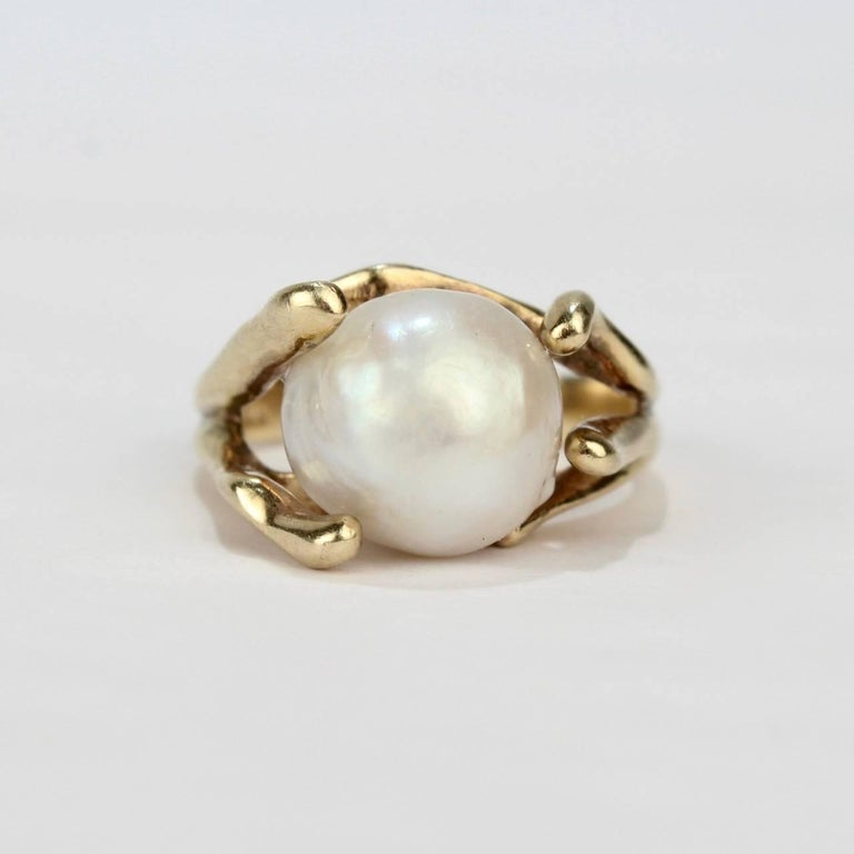 Modernist Gold and Baroque Pearl Cocktail Ring In Good Condition For Sale In Philadelphia, PA
