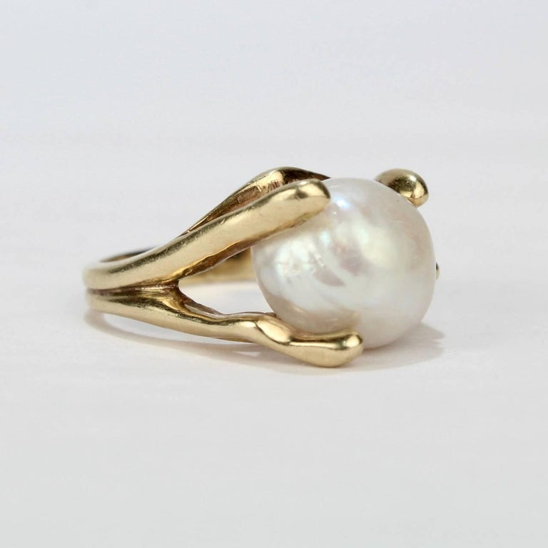 Women's Modernist Gold and Baroque Pearl Cocktail Ring For Sale
