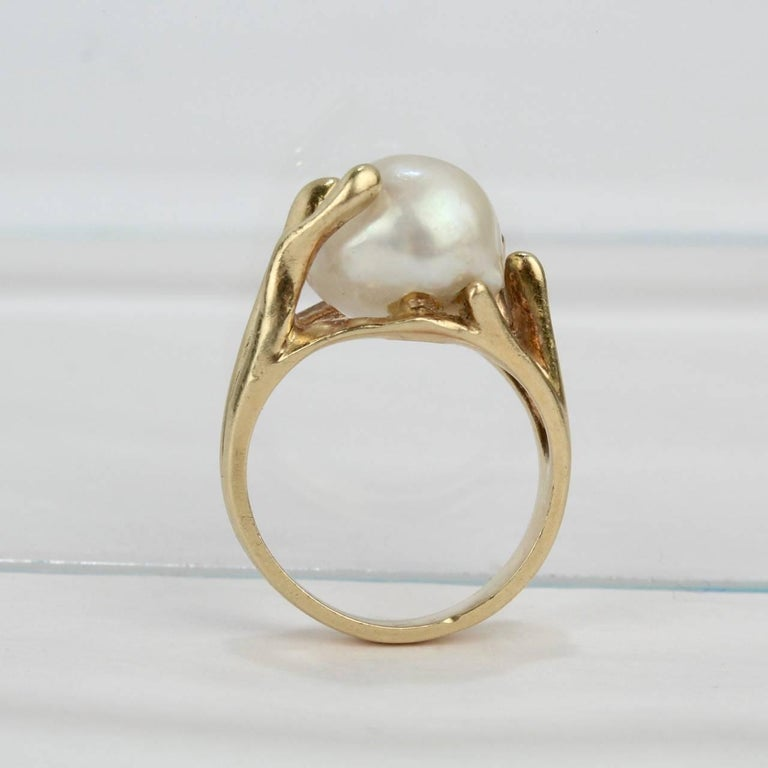 Modernist Gold and Baroque Pearl Cocktail Ring For Sale 3