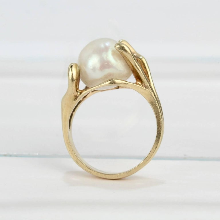 Modernist Gold and Baroque Pearl Cocktail Ring For Sale 4