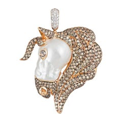 Buzzanca South Sea Baroque Pearl Brown and White Diamond Horse Animal Pendant