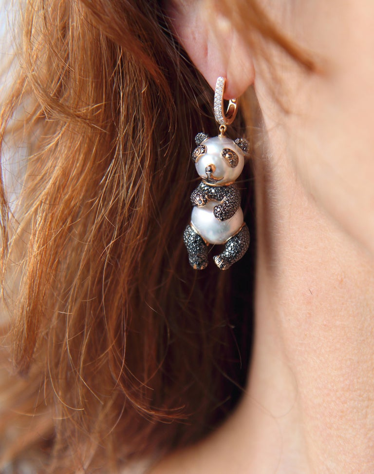 These Adorable Panda Bear Earrings Are Crafted Using 4 Australian South Sea Pearls Measuring 12 6