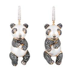 Buzzanca South Sea Pearl Back Diamond Chinese Panda Bear Animal Gold Earrings