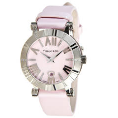 Tiffany & Co. Lady's White Gold Diamond Pink Atlas Wristwatch