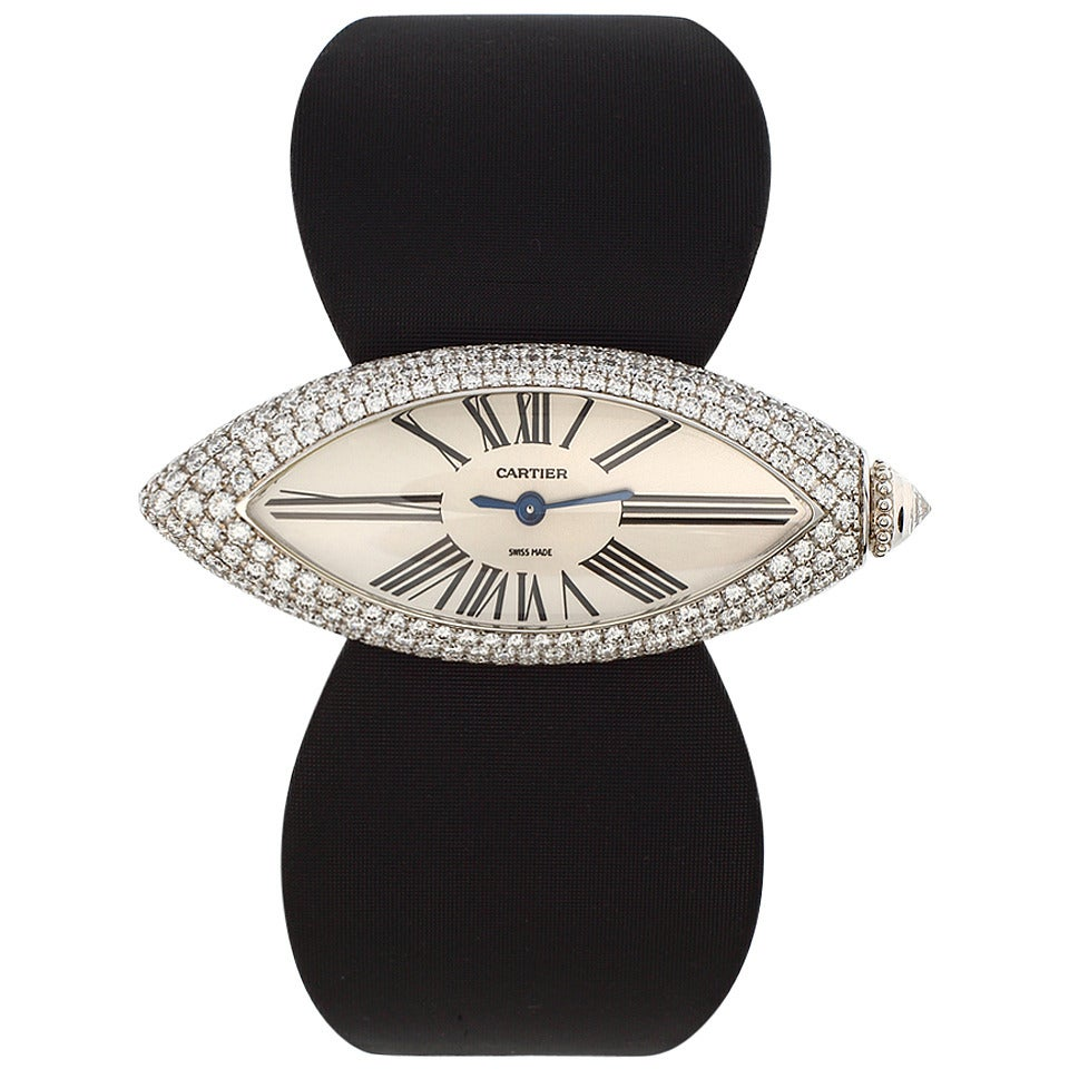 Cartier lady 39 s white gold and pave diamond libre for Triple j fine jewelry
