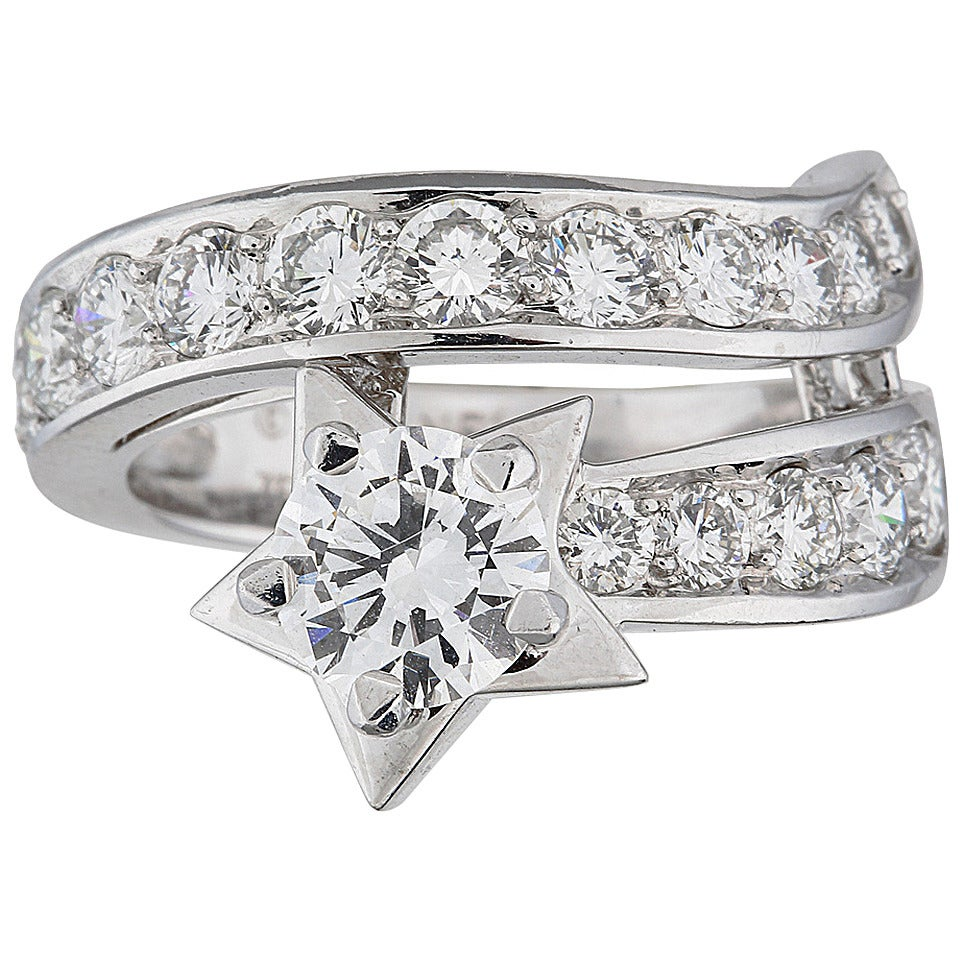 chanel platinum comete collection ring at 1stdibs