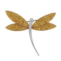 Van Cleef & Arpels Sapphire Diamond Gold Dragonfly Libellule Brooch