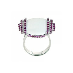 Youmna 18 Karat White Gold with White Agate and Rubies Cocktail Ring