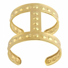 Youmna Fine Jewellery 18 Karat Yellow Gold Gladiator Bubble Cuff Bracelet