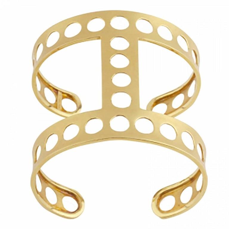 Youmna Fine Jewellery 18 Karat Yellow Gold Gladiator Perforated Cuff Bracelet