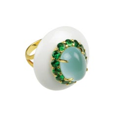 Youmna Fine Jewellery 18 Karat Gold with Agate, Milky Aquamarine & Garnets Ring