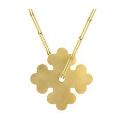 Youmna 18 Karat Yellow Gold Cross Clover Pendant Necklace
