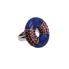 Youmna Fine Jewellery 18 Karat White Gold with Lapis and Rubies Cocktail Ring