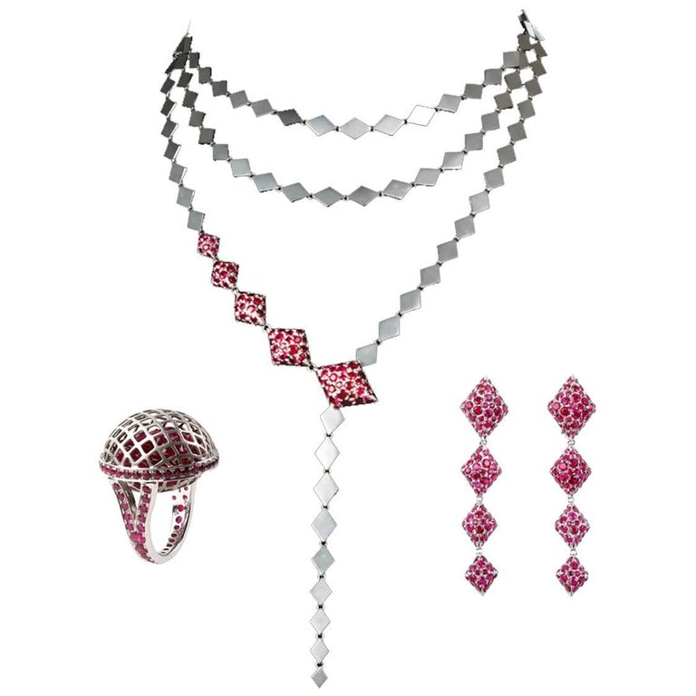 Youmna 18 Karat White Gold and Rubies Detachable Drop Earrings Necklace Suite