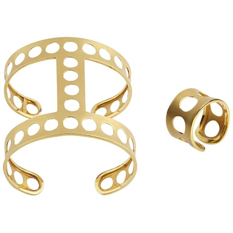 Youmna Fine Jewellery 18K Yellow Gold Gladiator Perforated Cuff and Ring Suite